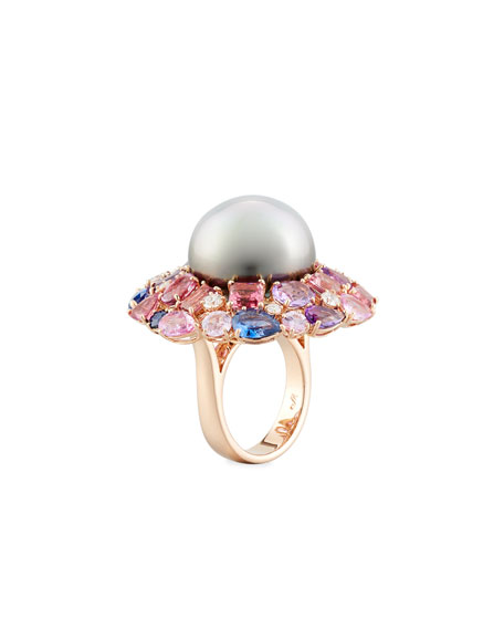 Margot McKinney Jewelry 18k Spring Blush Pearl & Mixed Stone Ring, Size 6.5