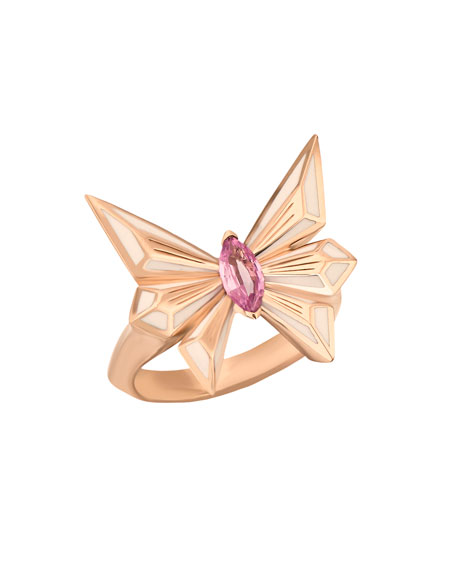 Stephen Webster FLY BY DECO DRIVE MARQUIS PINK SAPPHIRE RING