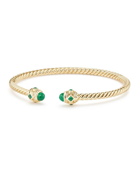 18k Gold Renaissance CableSpira Bangle Bracelet w/ Emeralds, Size L