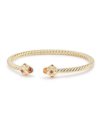 18k Gold Renaissance CableSpira Bangle Bracelet w/ Madeira Citrine, Size M