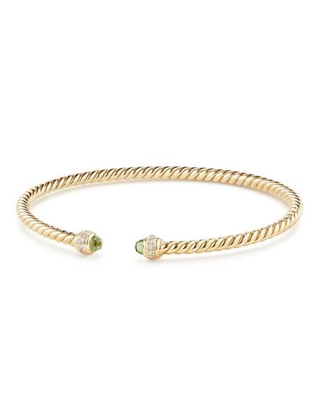 18k Gold CableSpira® Bracelet w/ Peridot, Size M