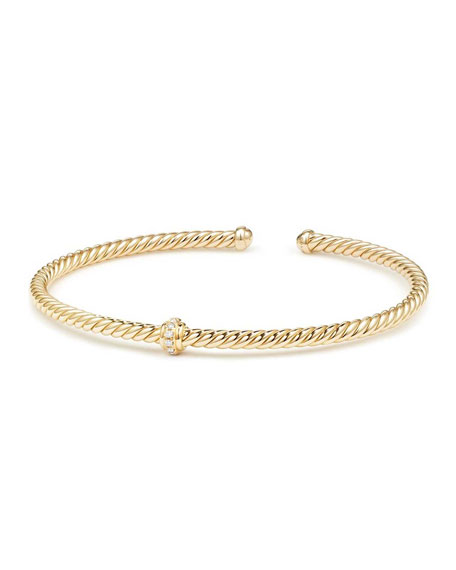Cablespira 18k Gold Flex Bracelet with Diamond Center Station, Size M