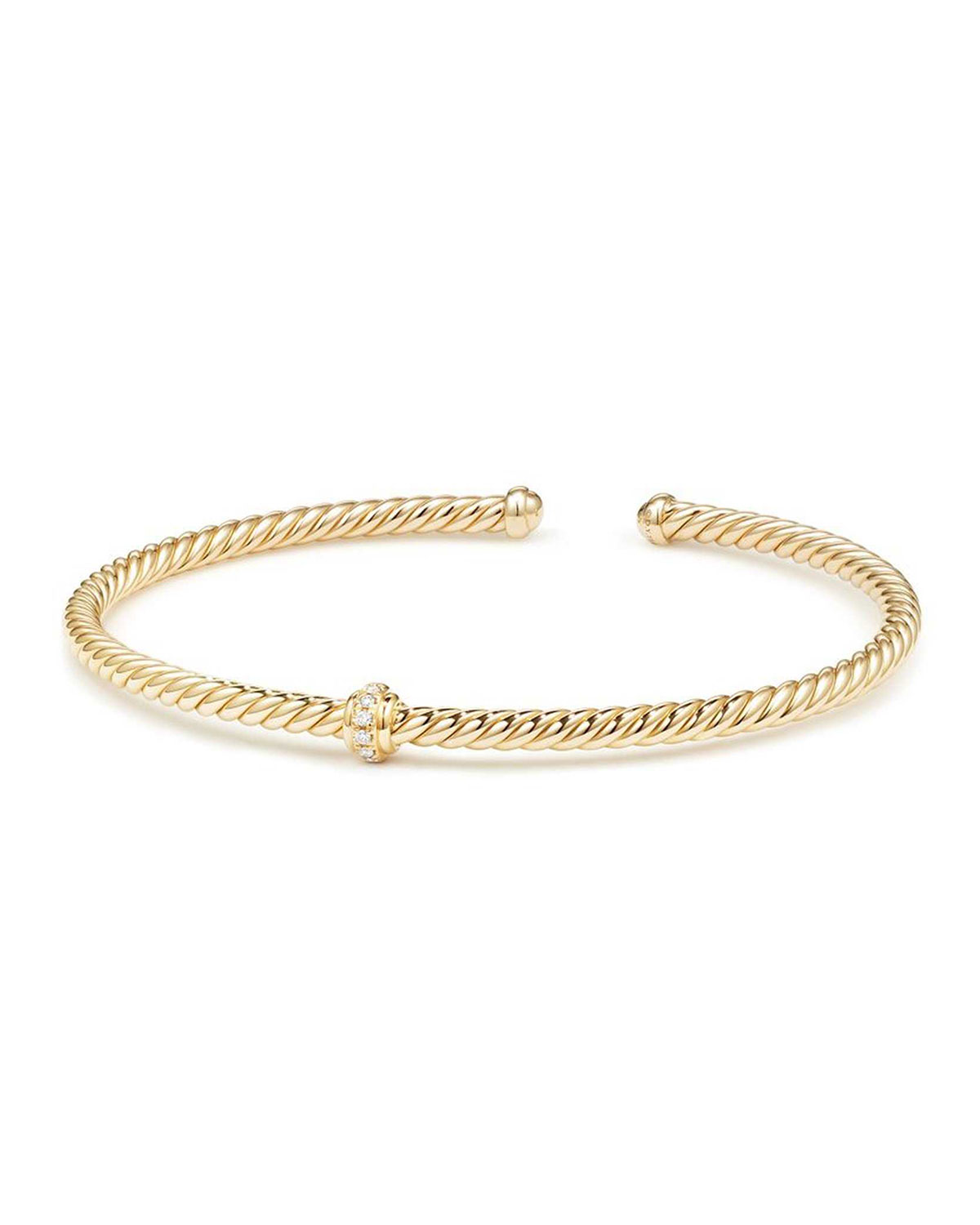 Cablespira 18k Gold Flex Bracelet With Diamond Center Station Size M
