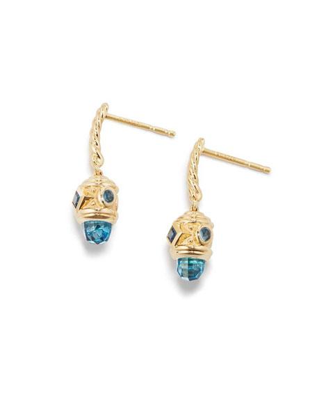 18k Renaissance Blue Topaz Drop Earrings