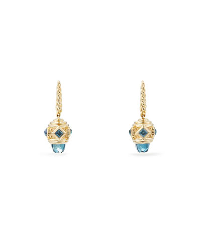 18k Renaissance Blue Topaz Drop Earrings