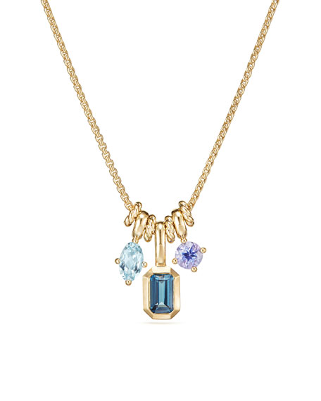 Novella Pendant Necklace in 18k Yellow Gold with Topaz & Aquamarine