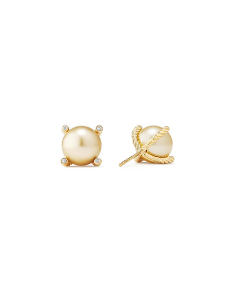 David Yurman Solari 18k South Sea Pearl Stud Earrings w/ Diamonds