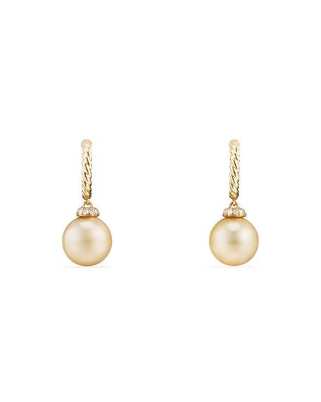 David Yurman 18k Solari Pearl Hoop Earrings w/ Diamonds