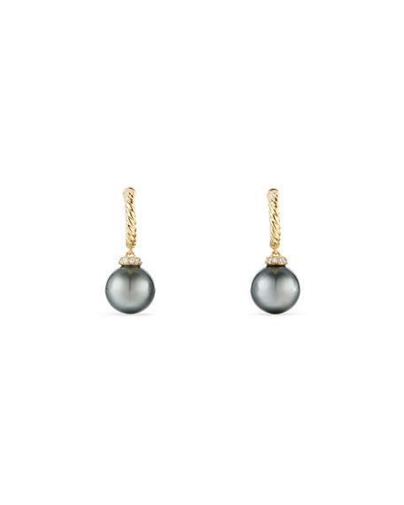 David Yurman 18k Solari Pearl Hoop Drop Earrings w/ Diamonds