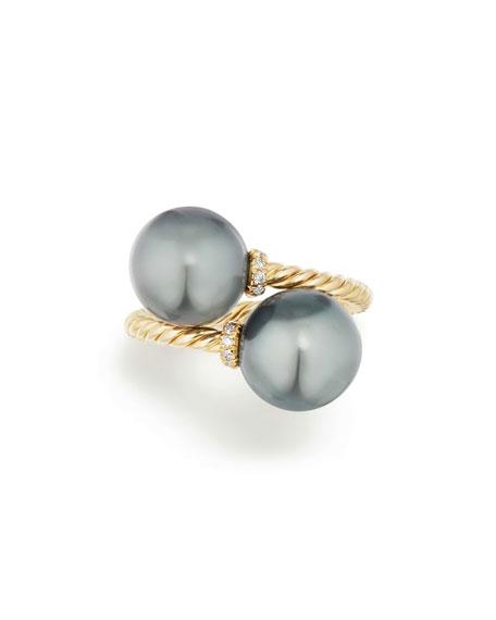 Solari 18k Tahitian Pearl Bypass Ring w/ Diamonds, Size 6
