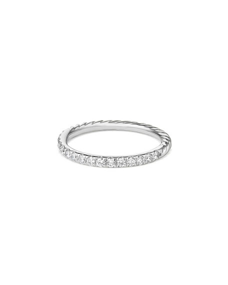 David Yurman Cable Collectibles Pave Diamond Band Ring in 18K White Gold, Size 6
