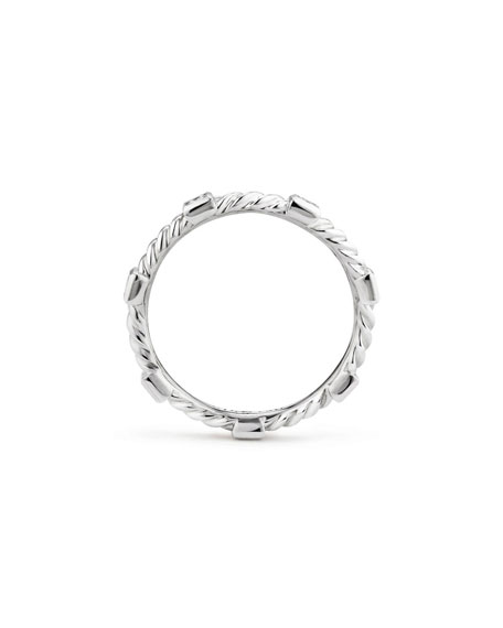 Cable Collectibles Stacking Band Ring w/ Diamonds in 18k White Gold, Size 5
