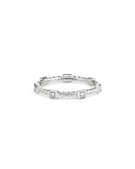 David Yurman Cable Collectibles Stacking Band Ring w/ Diamonds in 18k White Gold, Size 7