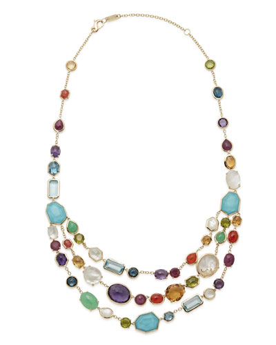 18k Rock Candy® Multi-Row Rainbow Bib Necklace
