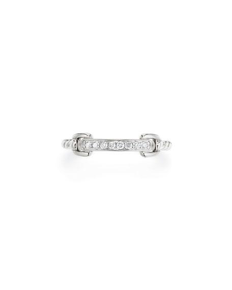 David Yurman Petite Pave Bar Ring w/ Diamonds in 18k White Gold, Size 7