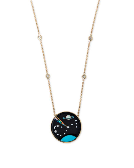 14k Galaxy Scorpio Zodiac Pendant Necklace