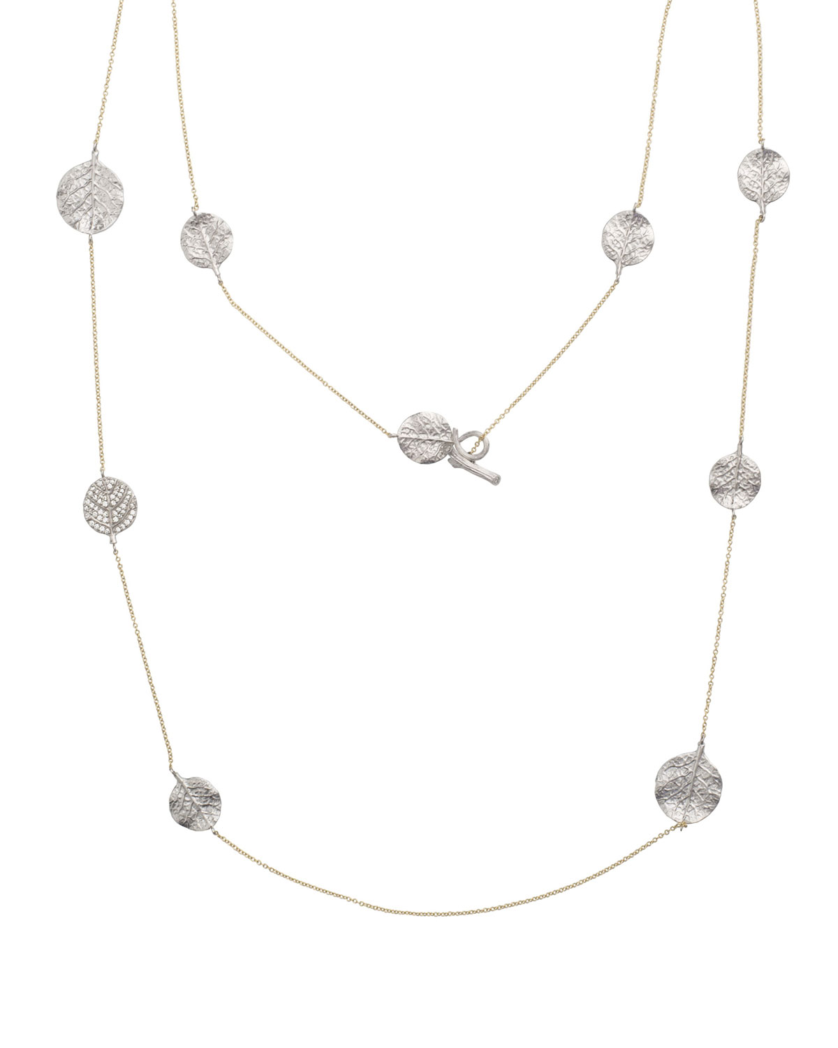 "Michael Aram Botanical Leaf Long Diamond Station Necklace, 36""L"