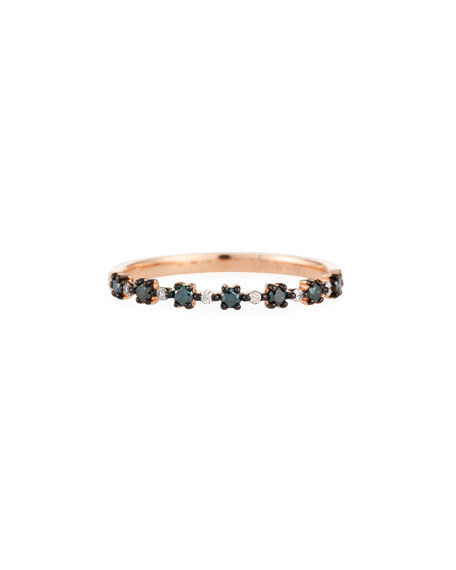 Stevie Wren 14k Blue Diamond Flowerette Stacking Ring, Size 7