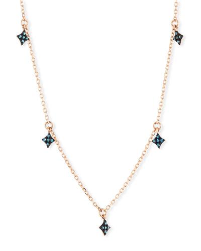 14k Four-Point Blue Diamond Star Dangle Necklace