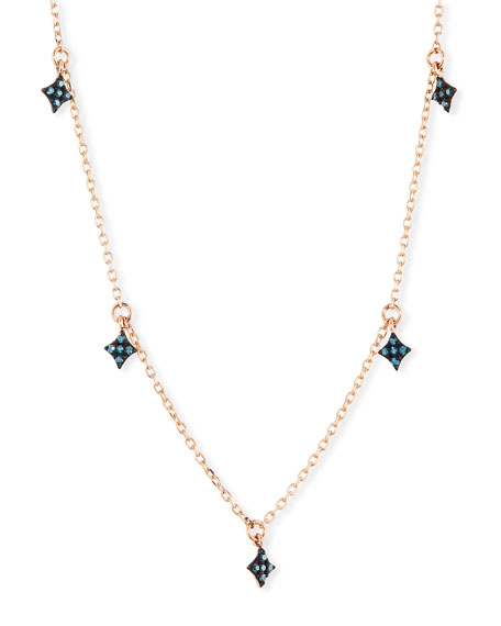 Stevie Wren 14k Four-Point Blue Diamond Star Dangle