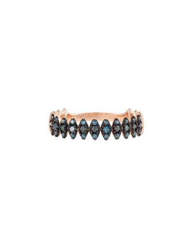 14k Rose Gold Zigzag Blue Diamond Ring  Size 7