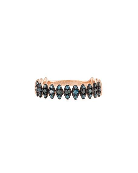 14k Rose Gold Zigzag Blue Diamond Ring, Size 7
