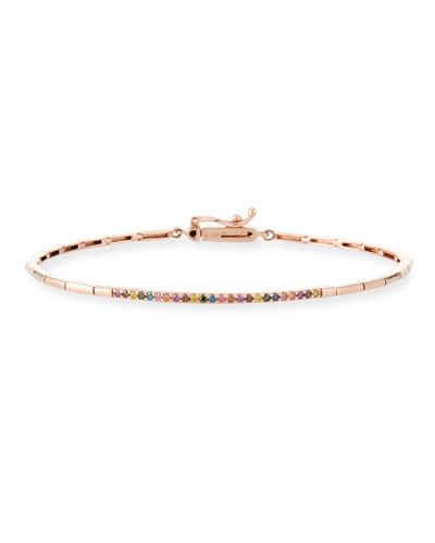 14k Gold Geometric Rainbow Diamond Bangle Bracelet