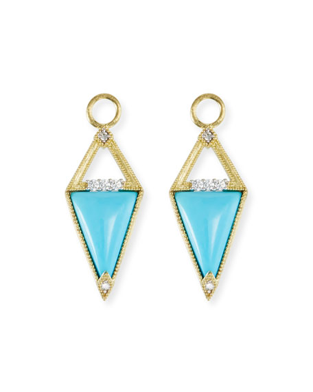 18k Lisse Inverted Turquoise Earring Charms