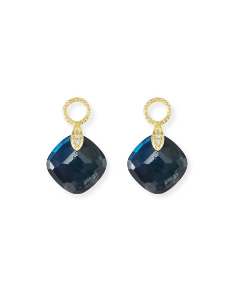 18k Lisse Doublet Cushion Earring Charms in Labradorite/Onyx