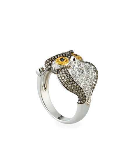 18k Two-Tone Diamond Owl Ring, Size 7.25