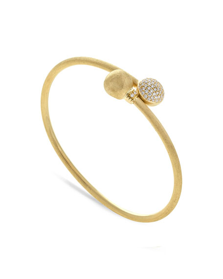 18k Gold Africa Diamond Pave Bangle