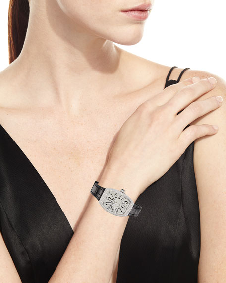 Franck Muller Lady Vanguard Watch with Diamonds & Alligator Strap