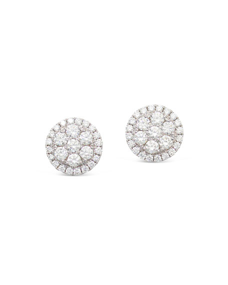 Frederic Sage 18k Firenze II Round Diamond Cluster Stud Earrings