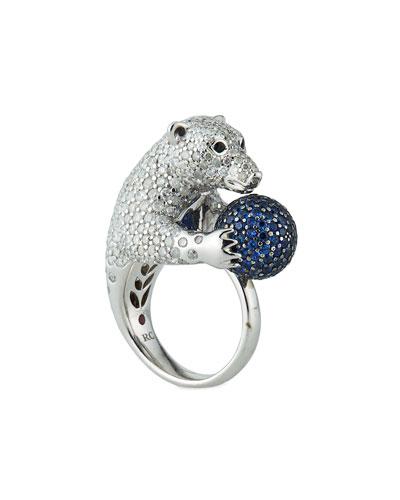 18k Diamond Pavé Polar Bear Ring, Size 6.5
