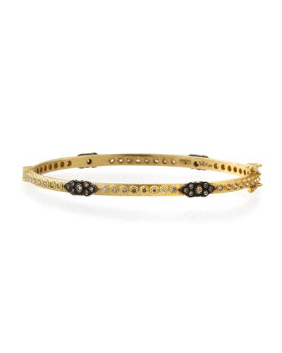 Armenta Old World 18k Gold Hinged Diamond Huggie Bangle Bracelet