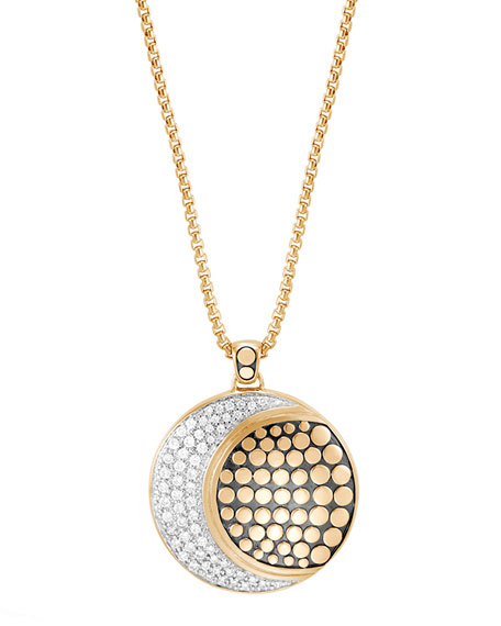 "Dot Moon Phase 18K Gold Diamond Pave Pendant Necklace, 36"""