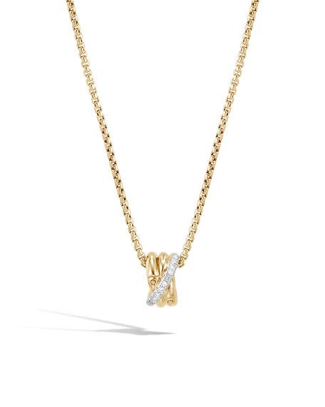 John Hardy 18k Bamboo Diamond Pendant Necklace