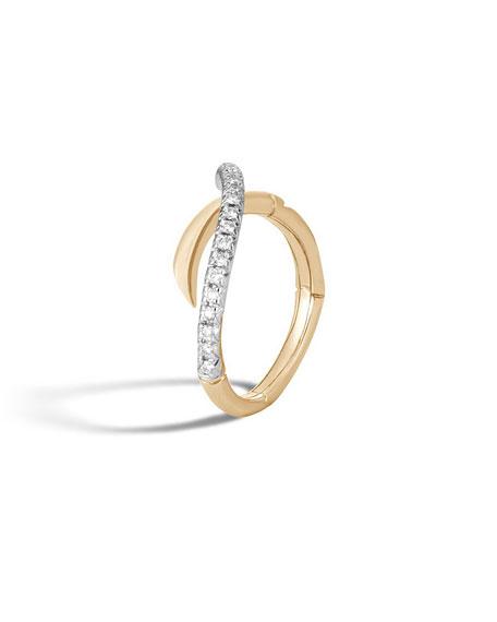 John Hardy 18k Bamboo Diamond Bypass Band Ring, Size 8