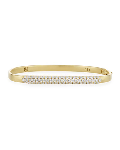 18k Gold Classic Diamond Hinged Huggie Bangle Bracelet