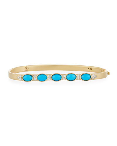18k Gold Sleeping Beauty Turquoise & Diamond Bangle
