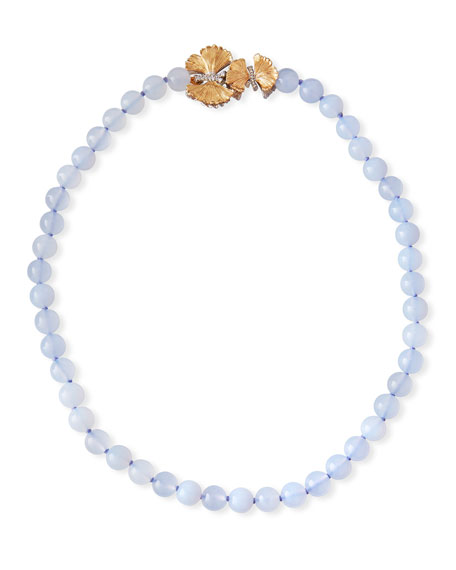 Butterfly Ginkgo Chalcedony Necklace w/ Diamonds