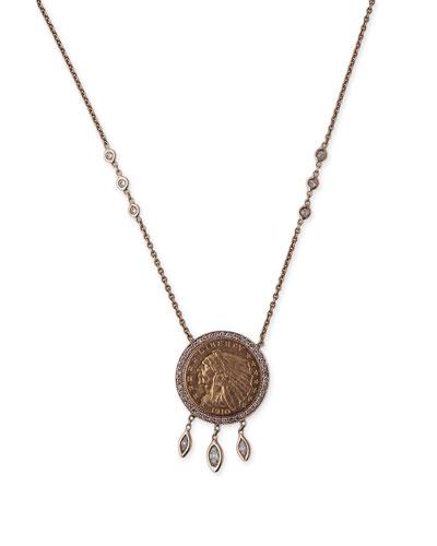 14k Diamond 1910 Liberty Antique Coin Pendant Necklace