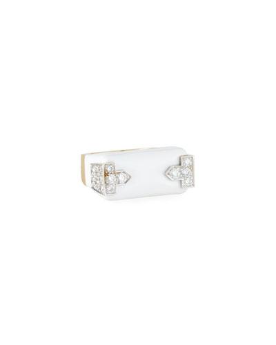18k White Enamel & Diamond Hero Ring  Size 6.5