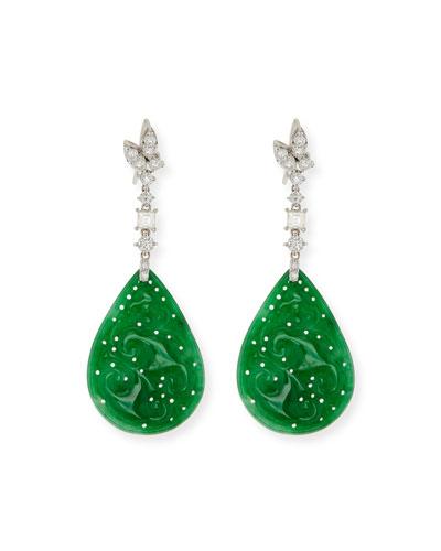 18k Jadeite & Diamond Pear Drop Earrings