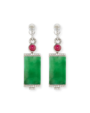 61d22a83ff0 David C.A. Lin 18k Rectangular Jade and Diamond Drop Earrings