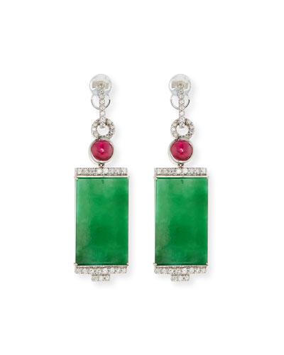 18k Rectangular Jade and Diamond Drop Earrings