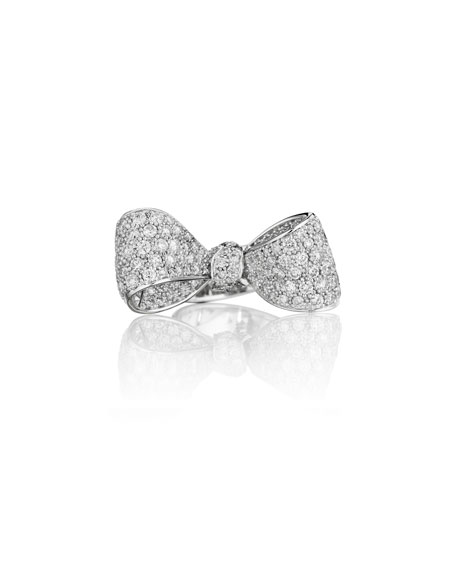 Mimi So Bow Mid Size 18k White Gold Diamond Ring, Size 6