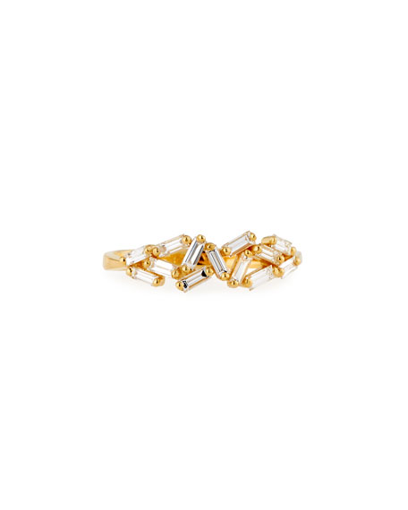 Suzanne Kalan Fireworks 5mm Baguette Cluster Ring in 18k Yellow Gold, Size 6.5