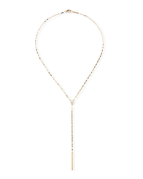 14k Solo Chime Lariat Necklace w/ Diamond and