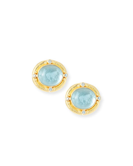 19k Gold Goat, Lion & Putto Intaglio Stud Earrings
